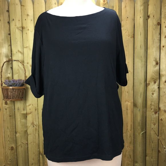 Karen Scott Tops - NWT Karen Scott Black Scoop Neck 3X T-Shirt
